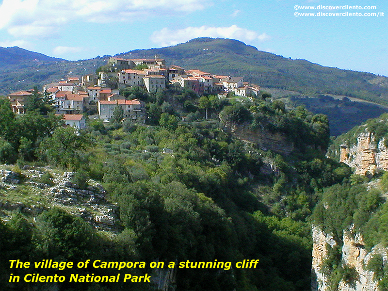 The village of Campora on a stunning cliff in Cilento National Park