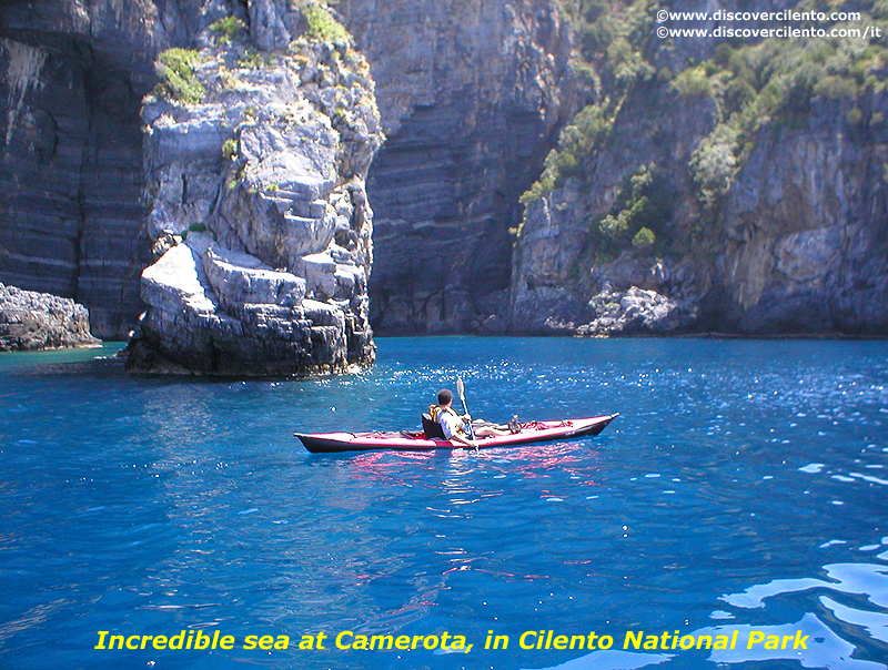 Spectacular colours of the sea at Camerota's coast, in Cilento National Park in Southern Italy